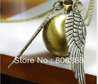 Harry Potter Hot Golden Snitch Pocket Watch Necklace Silver Double Sided Wings