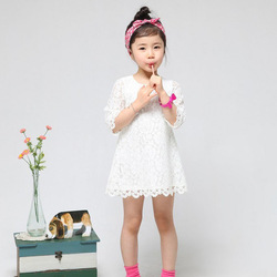 Free shipping! 2013 New Fashion Korean Children Clothes Beautiful Girls Lace White Dress Middle-Sleeve Slim Baby One-Piece Dress(China (Mainland))