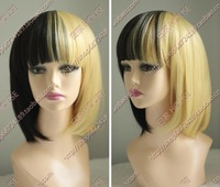 Free shipping Cos wig juniors HARAJUKU lolita thickening gold black bobo High quality mixed color wig party wigs