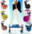 2013 new fashion Suede genuine leather bow tie platform high heel dress shoes buckle sandals Free shipping