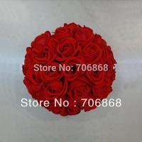 "Free shipping 12"" Artificial silk kissing roses flower ball (30CM)"