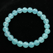 Aquamarine quartz rock jade bracelet blue stone bracelet 8mm Women 8(China (Mainland))