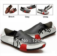 Mens Casual Shoes Genuine Leather Driving Moccasins Slip On White Brown Grey Black EUR SIZE 39 40 41 42 43 44