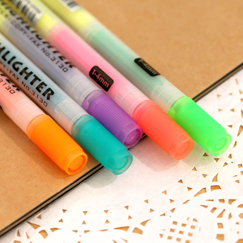 Ann paragraph of stationery fresh double slider multicolour neon pen marker pen watercolor pen doodle pen(China (Mainland))