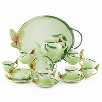 14 butterfly flower coffee ceramic tea set porcelain enamel set gift