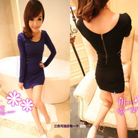 Sexy elegant heart slim hip skirt fashion slim zipper one-piece dress