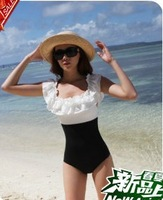 2013 Newest Lady's Beloved One piece swimwear plus size female sexy slim black and white ruffle hot spring swimsuit plus size