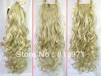 "2013 NEW 20"" Lady's Fashion Ponytail Hairpieces Ribbon Ponytail Hair Wavy Ponytail Extensions Blonde 2 Free Shipping"
