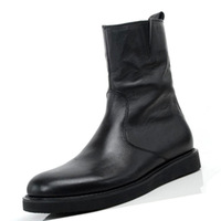 [(My God)] HOT NEW 2014 Winter genuine leather men's high-top shoes round toe medium-leg fashion male formal trend boots