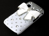 Bling Diamond White Bow Bowknot Bling Diamond Hard Back Case For  Samsung Galaxy Gio S5660 phone