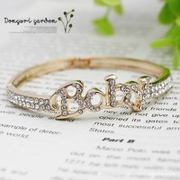 Stock Korean jewelry wholesale full created diamond letters of the alphabet BABY Bangles alloy bracelet factory direct