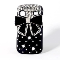 Bling Diamond Black Bow Bowknot Bling Diamond Hard Back Case For  Samsung Galaxy Gio S5660 phone