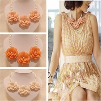 Free Shipping (Min order $10) fashion Unique Romantic Spring Flower choker Necklace statement women jewelry