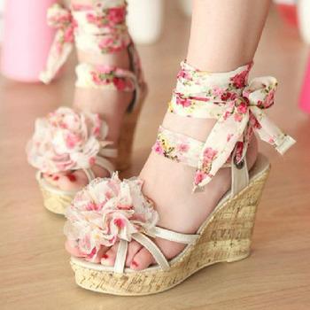 2013 sandals female sweet broken bohemia flower wedges high heels open toe platform shoes