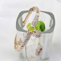 free shipping SZ01 New Arrivals Hot created diamond peach heart zircon bracelet heart Fashion KC Plating gold Bangles