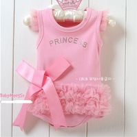2013 NEW infant rompers girl's Wear The lovely princess pink bow lace Romper baby clothes free shipping