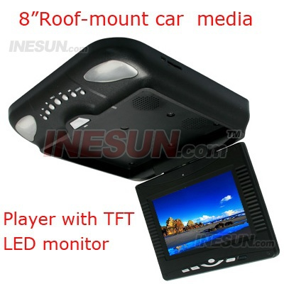 8 inch Roof Mount Flip down Overhard LCD monitor Car truck media DVD player with TV Built-in FM, wit SD card port and USB Port(China (Mainland))