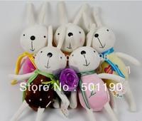 Promotional gift  plush toys doll wedding teddy bear wears bow wedding dress 5colors 16cm 6 pcs/lot