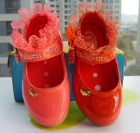 Princess single shoes child japanned leather shoes rhinestone child leather lace girls leather