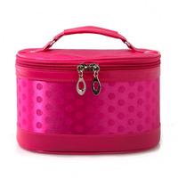 Big fog flower dot silk glossy professional cosmetic bag handbag cosmetic bag travel storage bag, free shipping