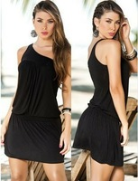 Women Sexy Black Red Halter Stretch Mini Clubwear Dress Skinny DS Dance Dresses Paillette Trim one-shoulder Tight Dresses