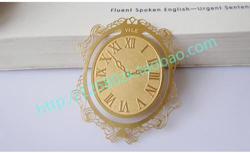 Personalized fashion empty thread clock metal bookmark(China (Mainland))