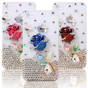 Love roses handmade 3D Element Design rhinestone diamond cell phone case For App  phone 4S/4 FREE SHIPPING