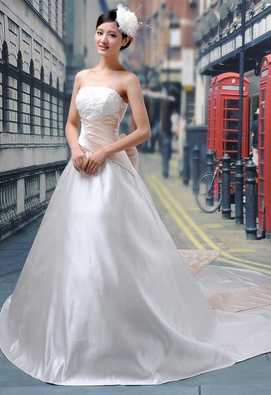 Free shipping new style white Long fashion princess floor bridal designer wedding dress gown Korea popular oblique bride dress(China (Mainland))