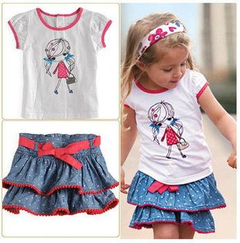 summer kids Girls clothing Baby kids cartoon Short sleeve t-shirts+skirt suit Minnie clothing set size 80-120 5set/lot