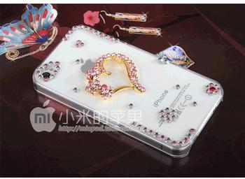 Heart-shaped handmade rhinestone diamond cell phone case For  app iph4/4s FREE SHIPPING