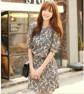 Free shipping New women&#39;s dress retro round collar floral printed chiffon dress couture base ladies&#39; dress(China (Mainland))