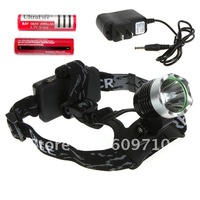 Newest Cheap Hot Sale bicklight headlamp 1800 Lumens CREE XM-L T6 LED Headlamp Headlight +    2x 18650 4000mah battery + Charger
