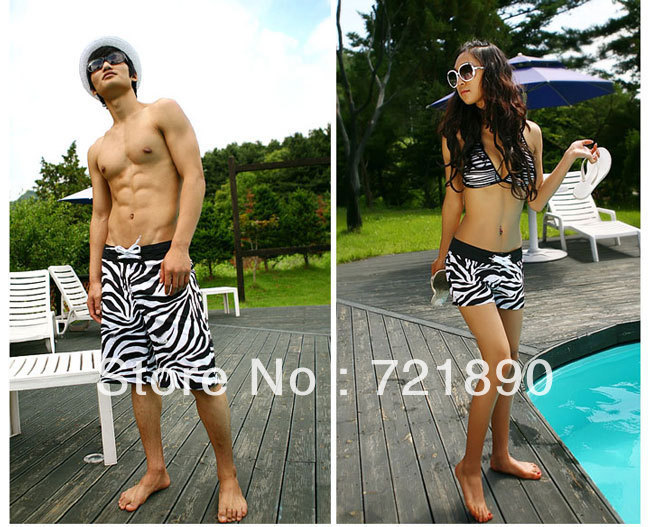 Zebra stripes men's beach pants plus-size women shorts sweethearts outfit hot pants drier in summer free shipping(China (Mainland))