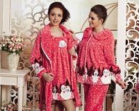 Angels LOVE 1212 coral fleece women's long-sleeve christmas autumn and winter sleepwear robe