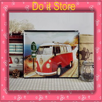 [ Do it ] Retro Volkswagen bus iron painting Wall Decoration Bar bus Metal painting 30*20 CM Free shipping
