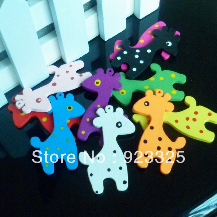Free Shipping!Colorful Giraffe wooden beads for keychain bracelets(China (Mainland))