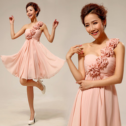Free shipping new 2013 Korean version of the shoulder fashion bridesmaid wedding dress skirt swing evening dress LF136(China (Mainland))