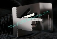 Personalized folding hand cutout quality stainless steel 3D business metal card