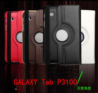 New Arrival Multicolor For GALAXY Tab P3100  360 Rotating Leather Case Smart Cover Stand 20pcs/lot DHL Free Shipping