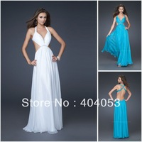 Beaded Chiffon Free Shipping Floor Length Sexy Deep V-neck Open Back Cheap Prom Dresses 2013 Long  EG599