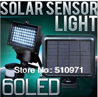 Free shipping!!! 2013 Updated, Single Crystal Solar Panel, Solar Sensor Light 60 Bright LED bulbs and PIR sensor included