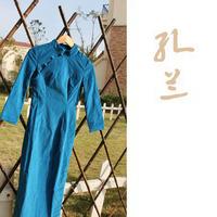 Cheongsam vintage 7 long-sleeve medium-long 100% thickening cotton flock printing long Qipao solid color