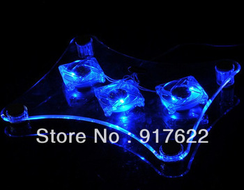 Wholesale  3led USB Notebook Cooler Cooling Pad 3 Fans for Laptop PC free shipping
