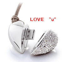 H2 4GB 8GB 16GB 32GB 64GB Swarovski Gold Plated Crystal Heart Free Shipping Wholesale Enough USB 2.0 Memory Flash Pen Drive