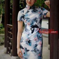 2015 Hot Sale Flower Cheongsam Short Traditional Chinese Dress New Arrival Vintage Flower Print Linen Fluid Cheongsam - Ink