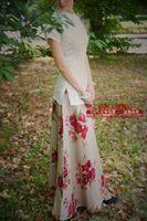 Skirts Womens Direct Selling Time-limited None Saias Femininas Faldas 2015 Vintage Flower Linen Expansion Bottom Bust Skirt