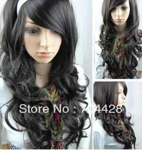 Charming long black curly hair lady's wig+gift+cap(China (Mainland))