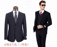 2013  New Arrival Black/bule three pieces  party men suits high quality free shipping
