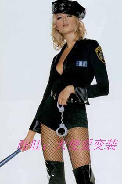 Black long-sleeve bodysuit female police uniform police uniform ds costume(China (Mainland))