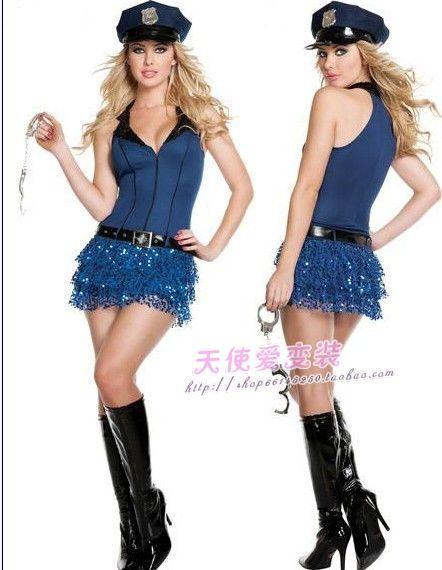 Blue low cut sleeveless short skirt female police uniform female costume ds(China (Mainland))